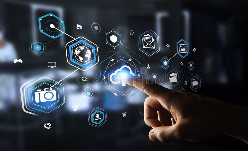Businessman using digital cloud interface 3D rendering stock illustration