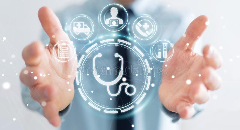 Businessman using digital medical interface 3D rendering. Businessman on blurred background using digital medical interface 3D rendering stock illustration