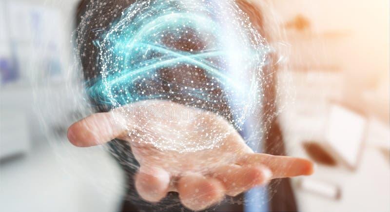 Businessman using digital network connection sphere 3D rendering. Businessman on blurred background using digital network connection sphere 3D rendering stock illustration