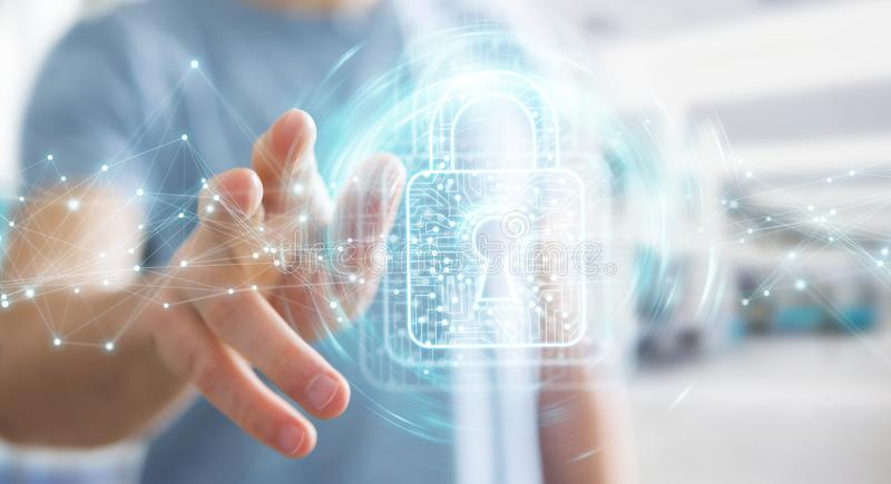 Businessman using digital padlock with data protection 3D rendering. Businessman on blurred background using digital padlock with data protection 3D rendering vector illustration