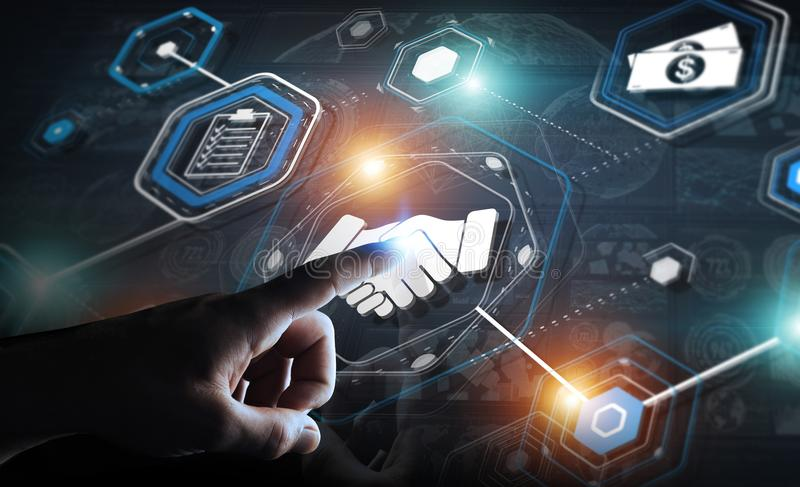Businessman using digital presentation for partnership business. Businessman on blurred background using digital presentation for partnership business 3D stock illustration
