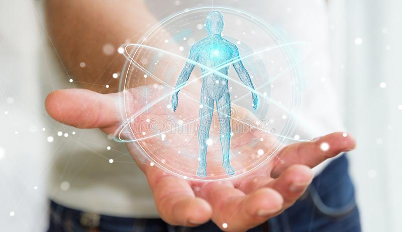 Businessman using digital x-ray human body scan interface 3D ren. Businessman on blurred background using digital x-ray human body scan interface 3D rendering vector illustration