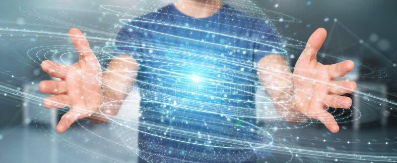 Businessman using digital sphere connection hologram 3D renderin. Businessman on blurred background using digital sphere connection hologram 3D rendering stock illustration