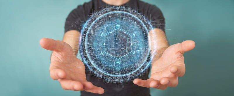Businessman using digital sphere connection hologram 3D renderin. Businessman on blurred background using digital sphere connection hologram 3D rendering vector illustration