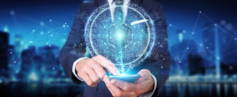 Businessman using digital sphere connection hologram 3D rendering. Businessman on blurred background using digital sphere connection hologram 3D rendering vector illustration