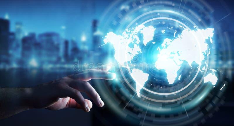 Businessman Using Digital World Map Interface 3D Rendering Stock Photo