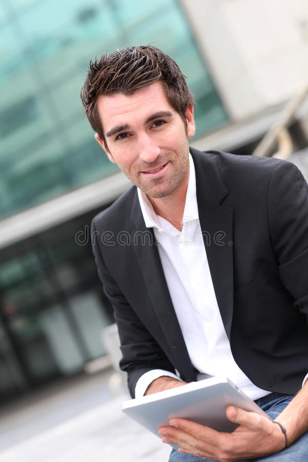 Download Businessman Using Electronic Tablet Royalty Free Stock Photos - Image: 21748608