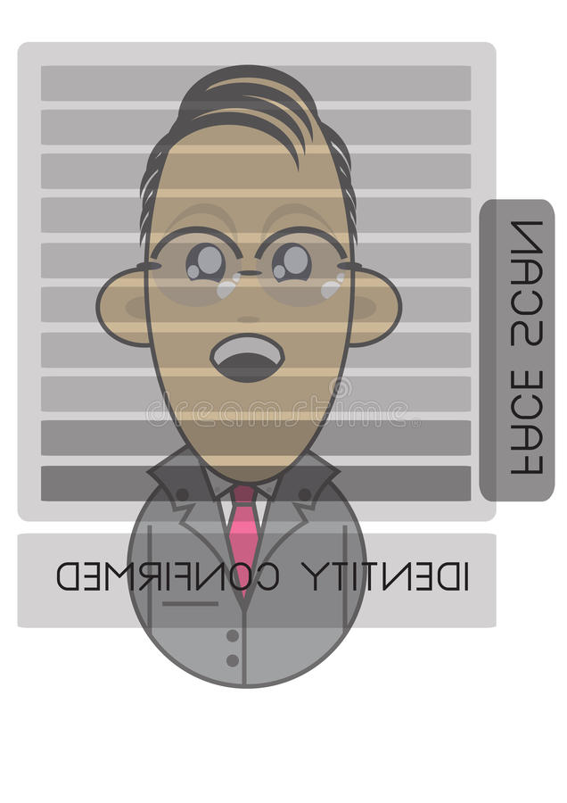 Download Businessman Using Face Recognition Screen Stock Illustration - Image: 16290530