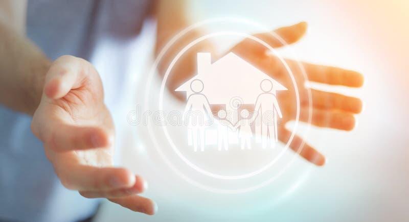 Businessman using family care insurance application 3D rendering. Businessman on blurred background using family care insurance application 3D rendering stock illustration