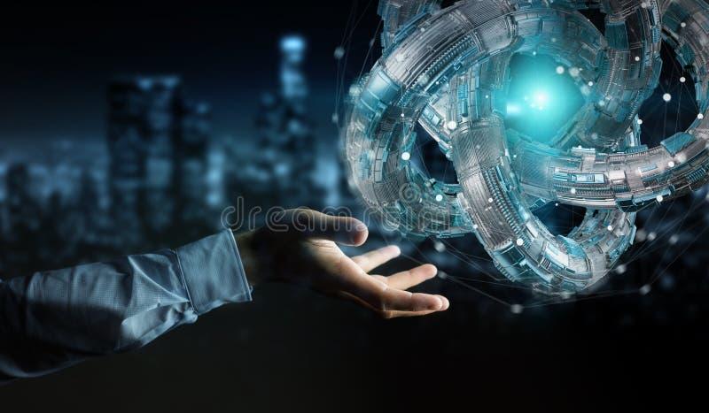 Businessman using futuristic torus textured object 3D rendering. Businessman on blurred background using futuristic torus textured object 3D rendering vector illustration