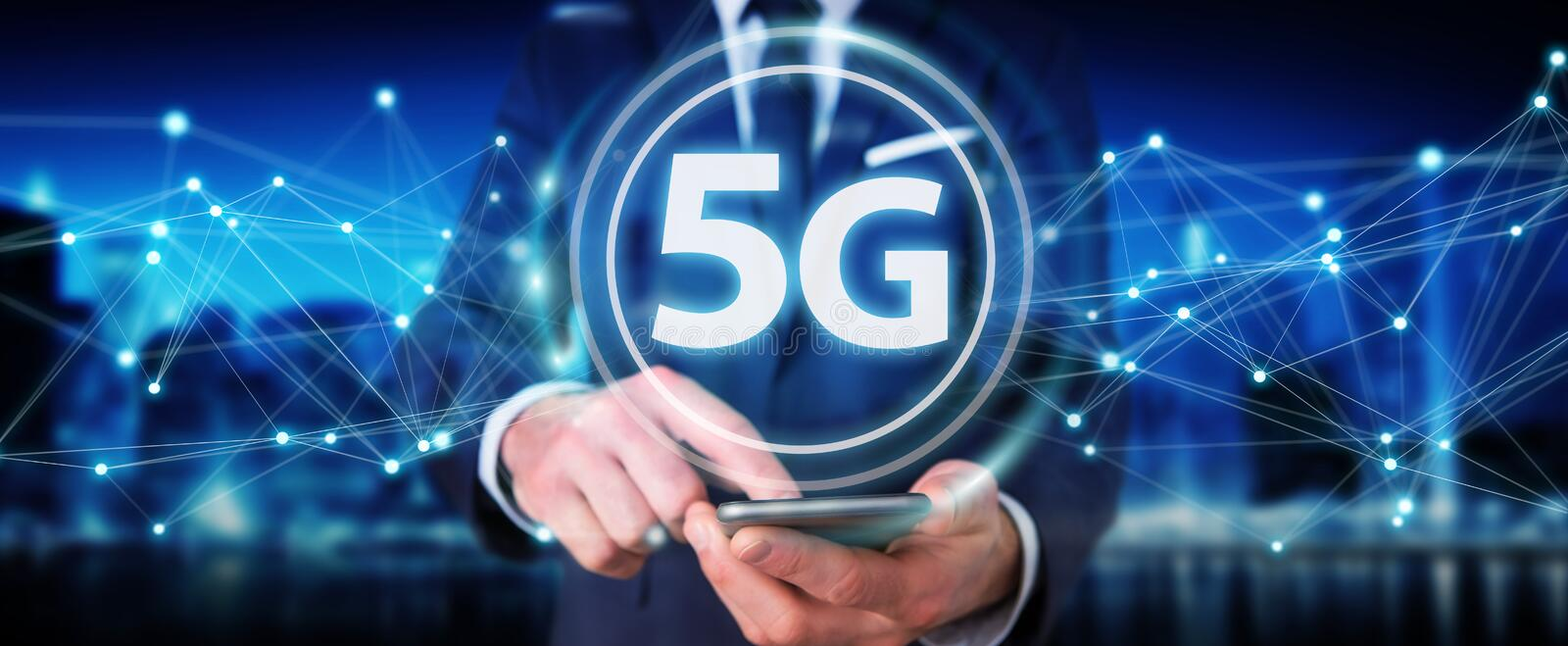 Businessman using 5G network interface 3D rendering. Businessman on blurred background using 5G network interface 3D rendering stock illustration