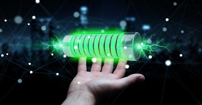 Businessman using green battery with lightnings 3D rendering stock illustration