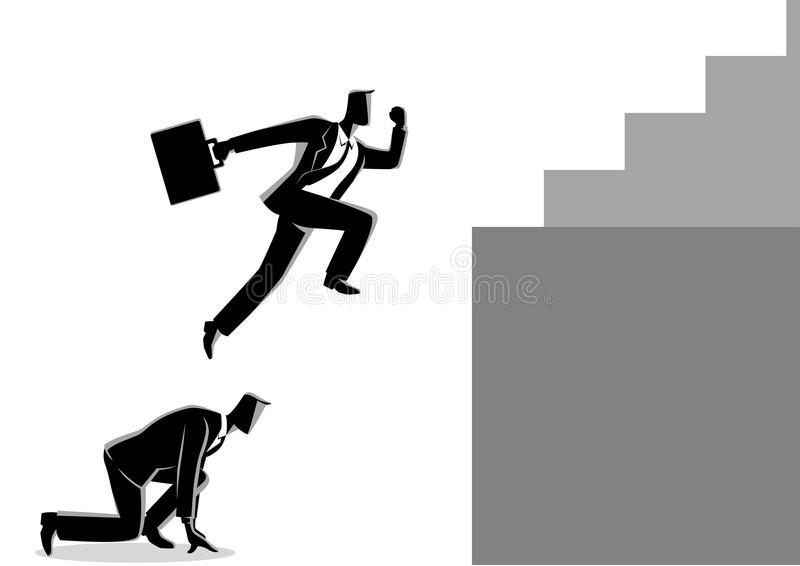 Businessman using his friend as a stepping stone to jump higher. Business concept vector illustration of a businessman using his friend as a stepping stone to vector illustration