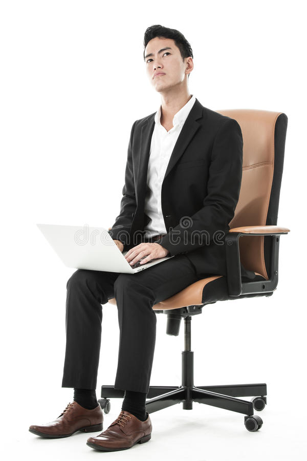 Download Businessman Using His Laptop Stock Image - Image of stern, corporate: 36707457