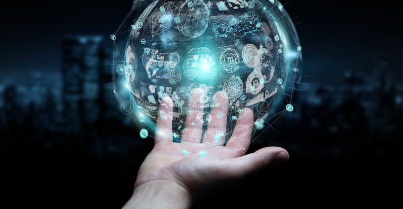 Businessman using holograms datas digital sphere 3D rendering royalty free illustration