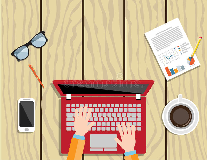 Businessman using a laptop. Laptop hands type working using computer flat illustration.Copy Space Vector Illustration stock illustration
