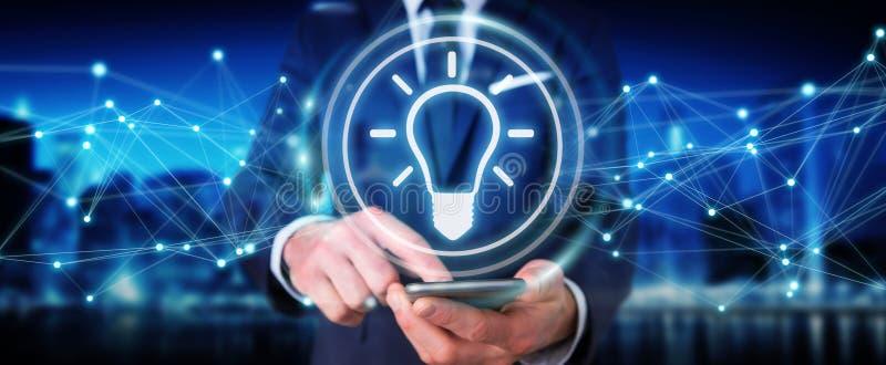 Businessman using lightbulb idea interface 3D rendering stock illustration