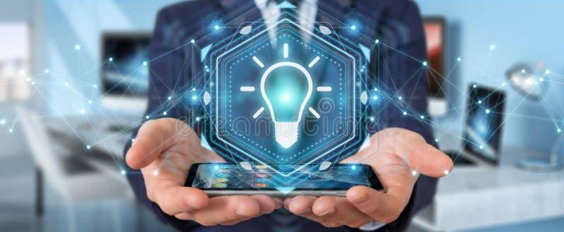 Businessman using lightbulb idea interface 3D rendering vector illustration