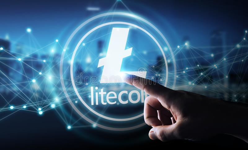 Businessman using litecoins cryptocurrency 3D rendering. Businessman on blurred background using litecoins cryptocurrency 3D rendering royalty free illustration