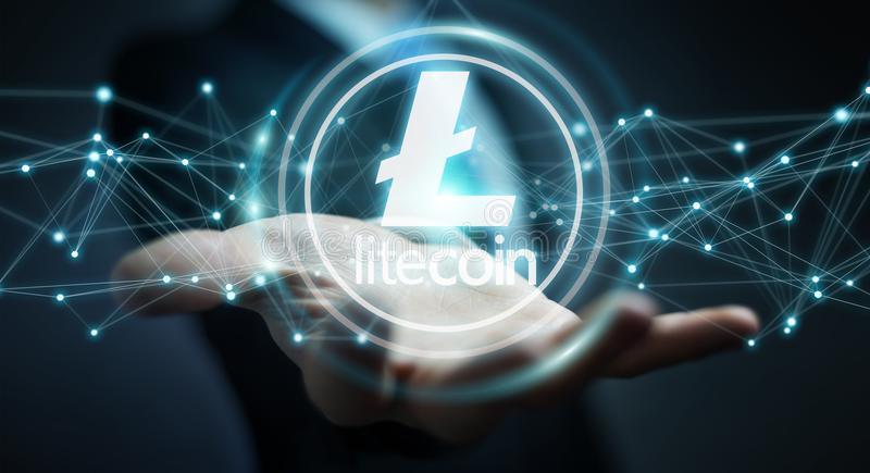 Businessman using litecoins cryptocurrency 3D rendering. Businessman on blurred background using litecoins cryptocurrency 3D rendering vector illustration
