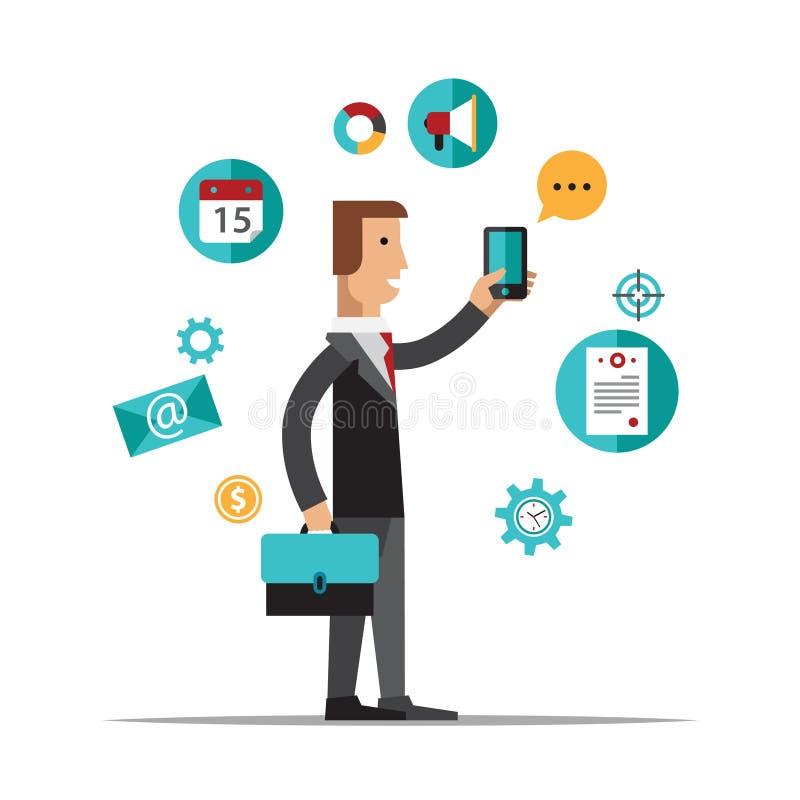 Businessman using mobile phone for business vector illustration
