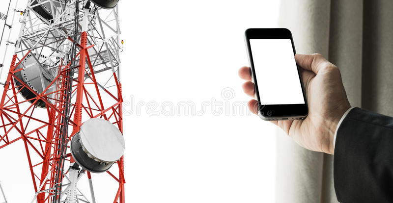 Businessman using mobile phone with curtain opening, and satellite dish telecom network on telecommunication tower, isolated on stock image