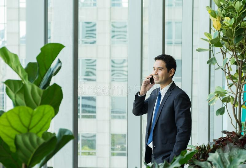 Businessman using mobile phone near office window at receptions royalty free stock image