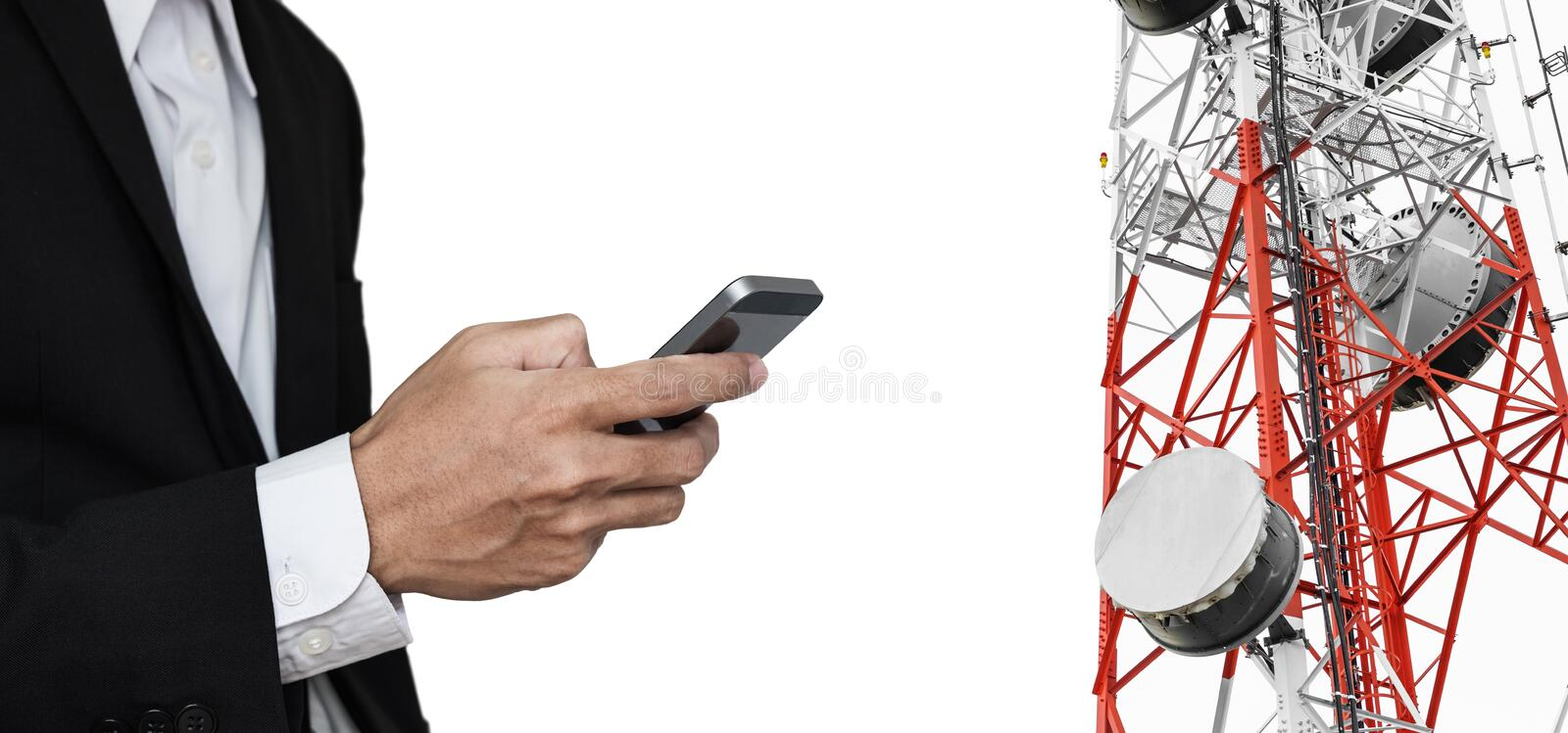 Businessman using mobile phone, with satellite dish telecom network on telecommunication tower, isolated on white background royalty free stock photography