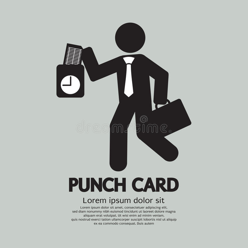 Businessman Using Punch Card For Time Check royalty free illustration