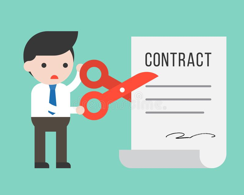 Businessman using scissor cut contract document, business situation concept. Businessman using scissor cut contract document, flat design business situation vector illustration