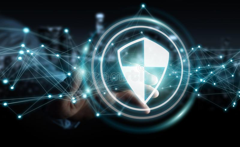Businessman using shield safe protection with connections 3D rendering. Businessman on blurred background using shield safe protection with connections 3D stock illustration