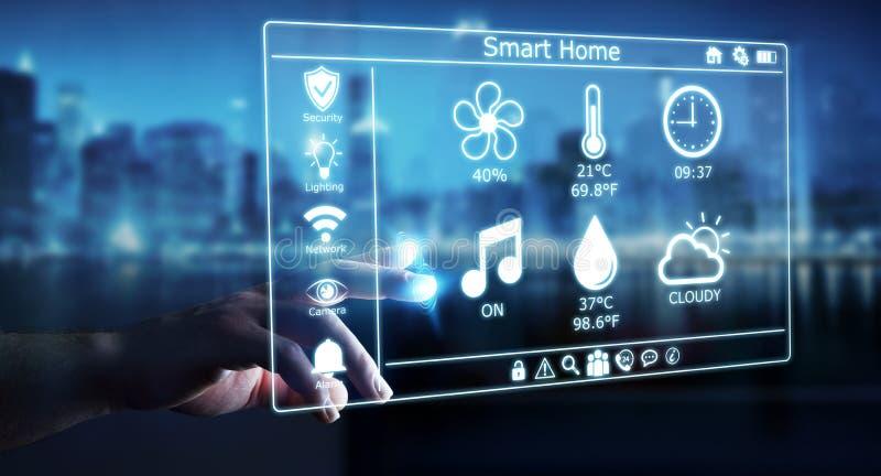 Businessman using smart home digital interface 3D rendering. Businessman on blurred background using smart home digital interface 3D rendering vector illustration