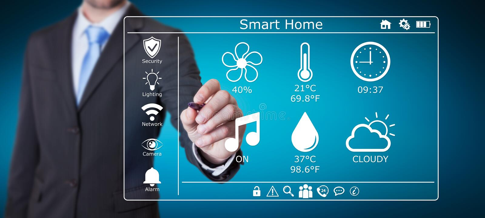 Businessman using smart home digital interface 3D rendering. Businessman on blurred background using smart home digital interface 3D rendering vector illustration
