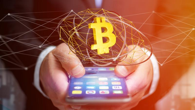 Businessman using a smartphone with a Bitcoin crypto currency si stock illustration