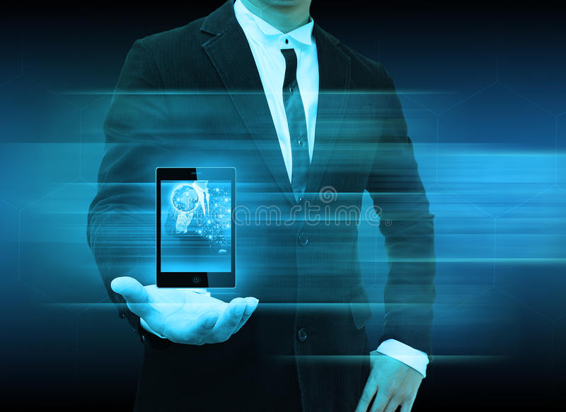 Businessman using smartphone choosing the right person. Business man using smartphone choosing the right person stock images