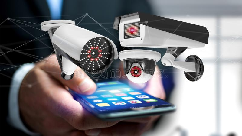 Businessman using a smartphone with a Security camera system and stock illustration