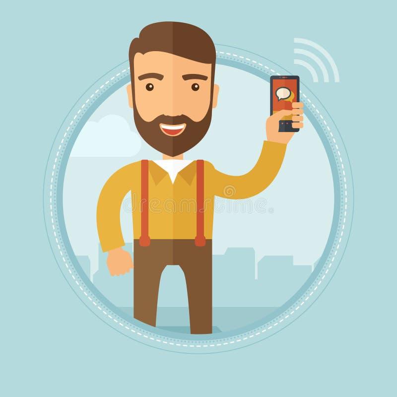 Businessman using smartphone vector illustration. stock illustration