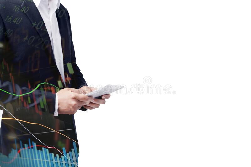 Businessman using tablet analyzing sales data and economic growth graph chart. Business strategy. Abstract icon. Digital marketing stock photography