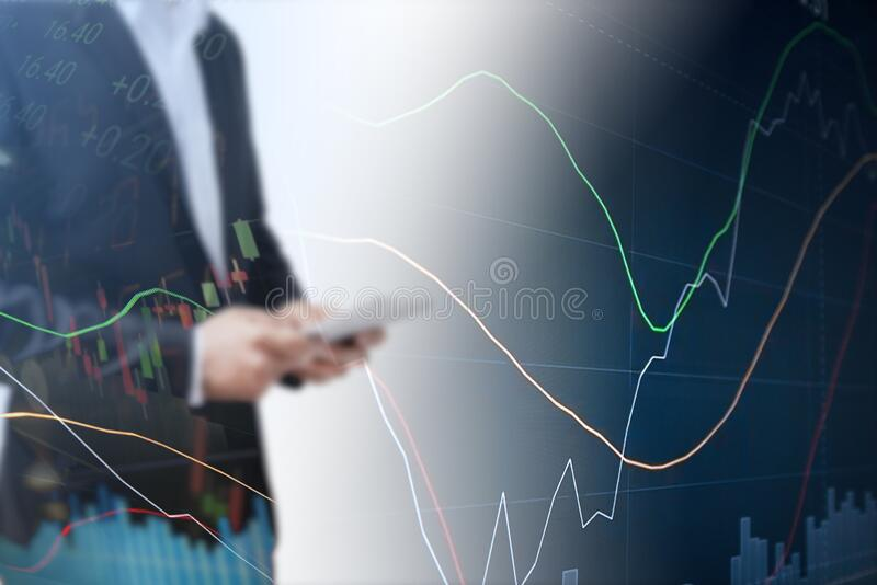 Businessman using tablet analyzing sales data and economic growth graph chart. Business strategy. Abstract icon. Digital marketing royalty free stock image