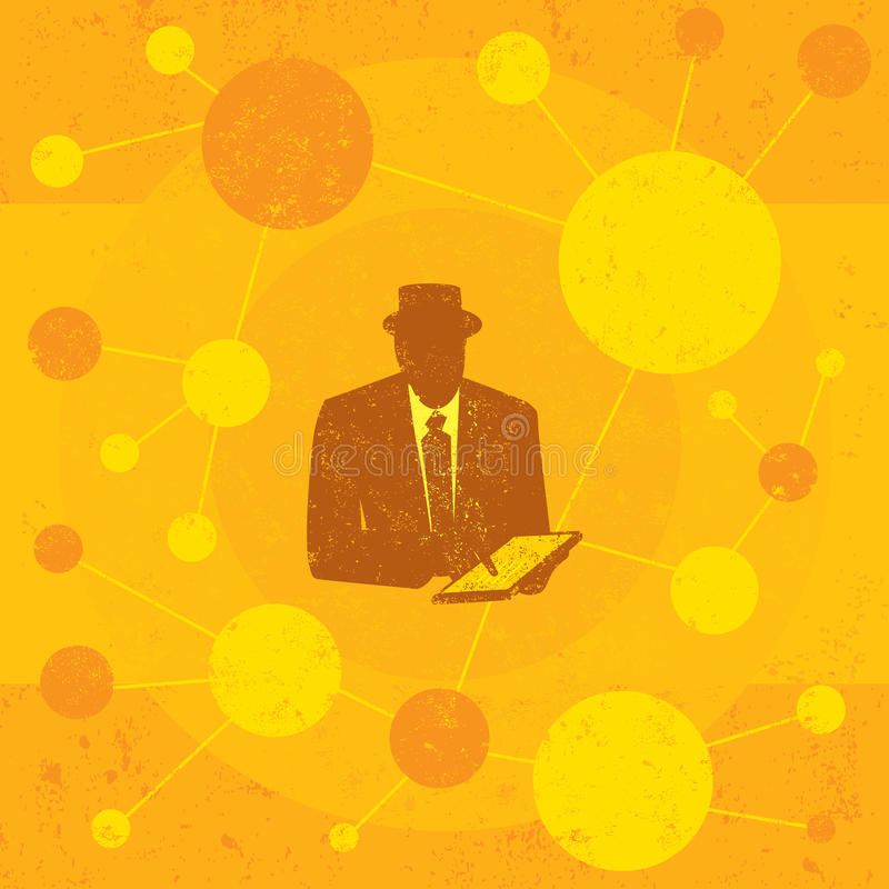 Businessman using a tablet computer vector illustration