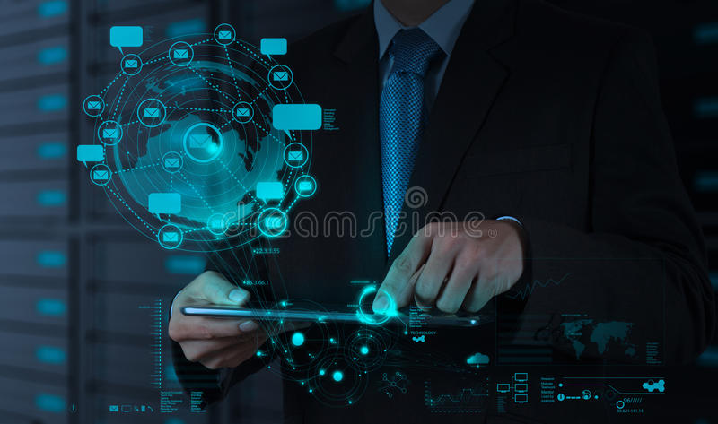 Businessman using tablet computer shows internet and social network. As concept royalty free stock image