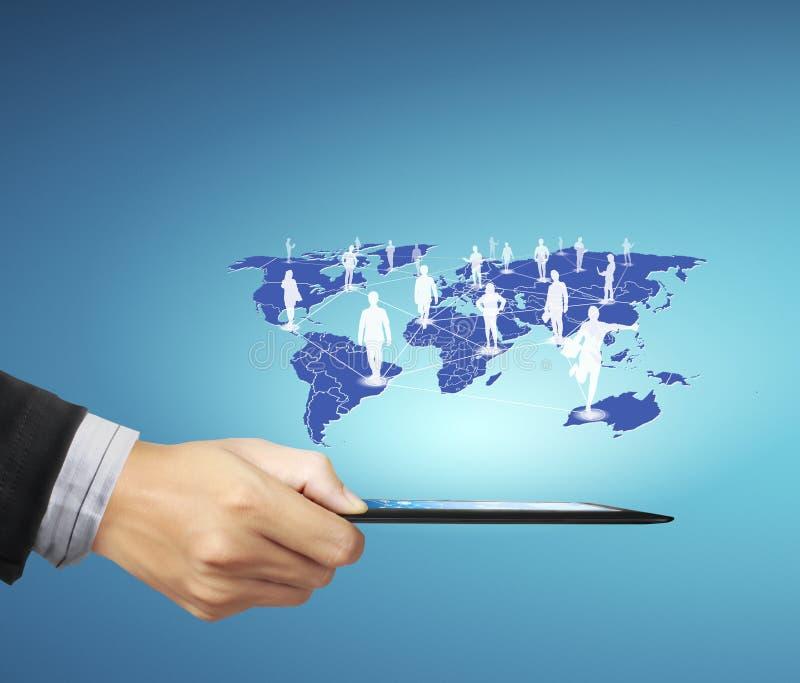 Businessman using tablet social connection stock illustration