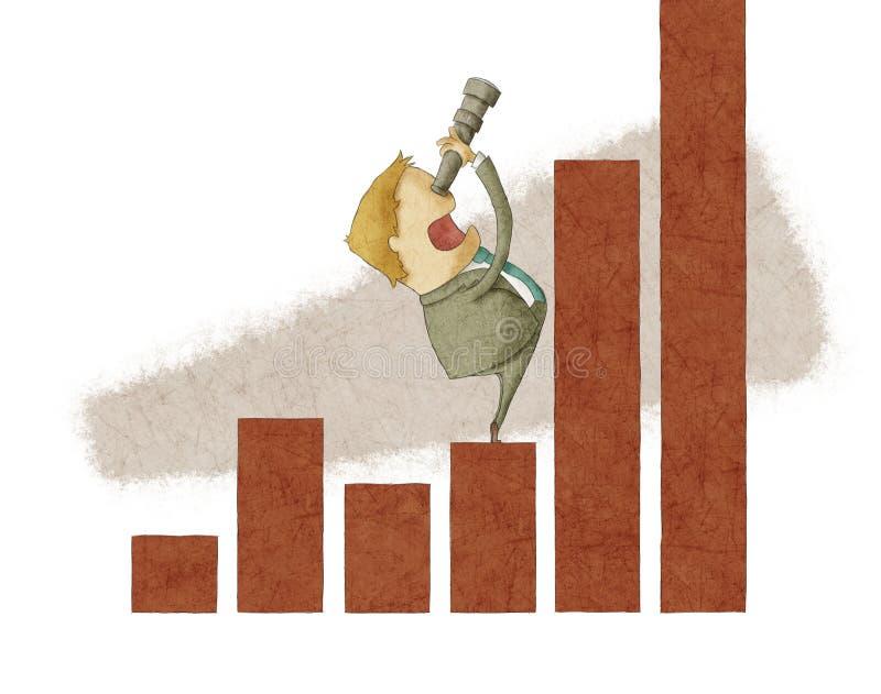 Businessman using a telescope on a bar chart royalty free illustration