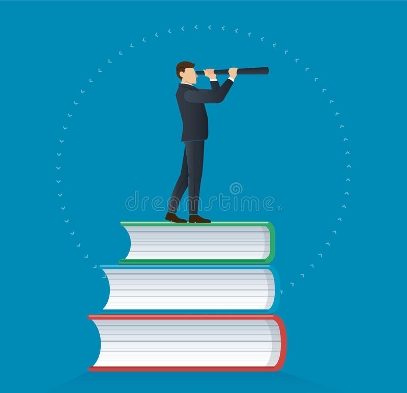 Businessman using a telescope on books icon design vector illustration, education concepts stock illustration