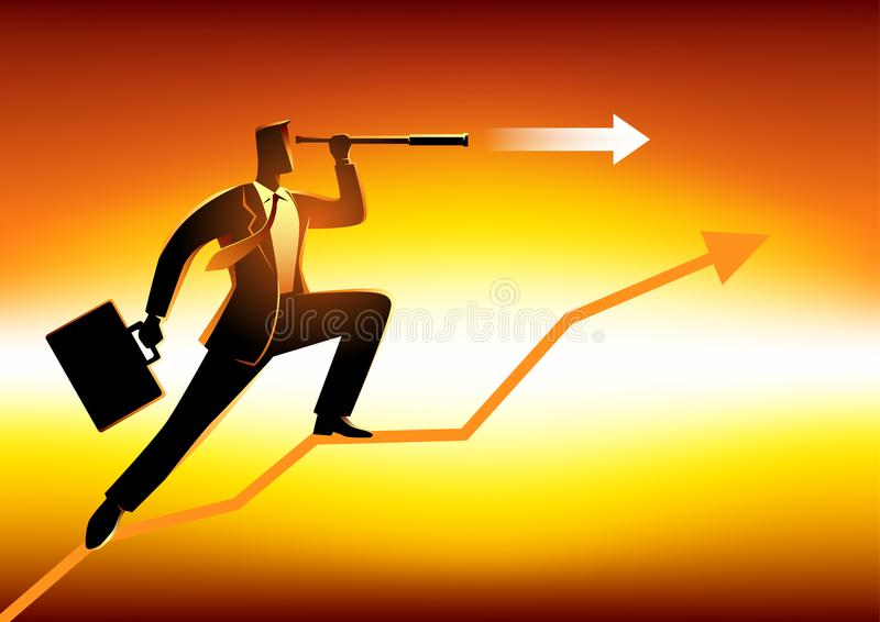 Businessman using telescope on graphic chart. Silhouette of a businessman using telescope on graphic chart. Concept for forecast, prediction, success, planning vector illustration