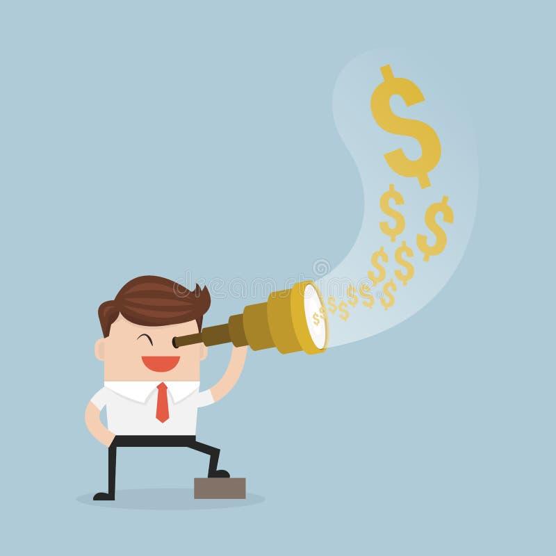 Businessman using telescope see money. royalty free illustration