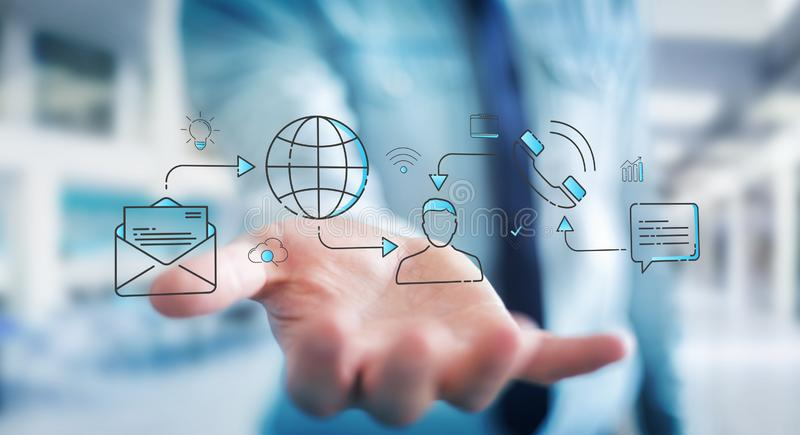 Businessman using thin line social network icons interface. Businessman on blurred background using thin line social network icons interface stock illustration
