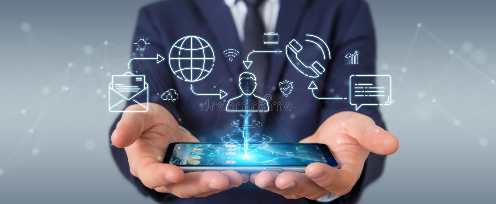 Businessman using thin line social network icons interface. With his mobile phone stock illustration