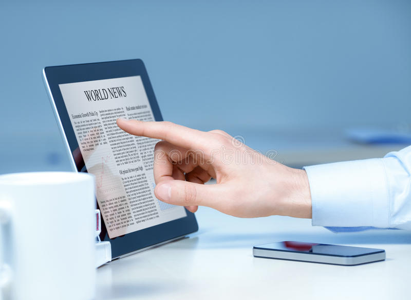 Download Businessman Using Touch Screen Device Stock Image - Image: 25148913