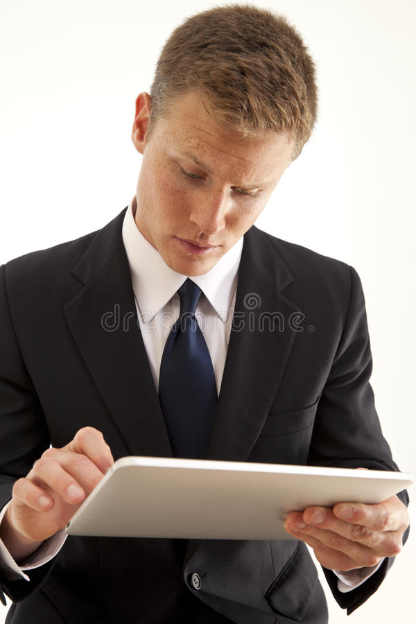 Download Businessman Using Touch Screen Tablet Computer Stock Image - Image of success, handsome: 15622603